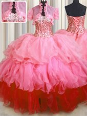 Visible Boning Bling-bling Floor Length Lace Up Quinceanera Gowns Multi-color and In for Military Ball and Sweet 16 and Quinceanera with Beading and Ruffles