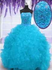 Graceful Strapless Sleeveless Sweet 16 Dresses With Brush Train Beading and Ruffles Aqua Blue Organza