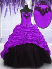 Eye-catching Purple Taffeta Lace Up Sweetheart Sleeveless With Train Quinceanera Dresses Sweep Train Appliques and Pick Ups