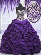 Fashionable Eggplant Purple Ball Gowns Beading and Sequins and Pick Ups Quinceanera Gowns Lace Up Taffeta Sleeveless Floor Length