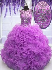 Fabulous Lilac Organza Lace Up Scoop Sleeveless Floor Length Quinceanera Gowns Beading and Ruffles