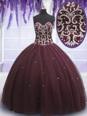 Luxury Dark Purple Sleeveless Beading and Appliques Floor Length Quinceanera Gown