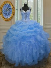Trendy Sweetheart Sleeveless Organza Sweet 16 Dresses Beading and Ruffles Lace Up