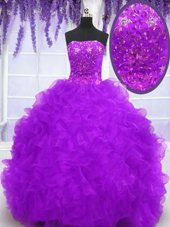 Eggplant Purple Ball Gowns Organza Strapless Sleeveless Beading and Appliques and Ruffles With Train Lace Up 15th Birthday Dress Brush Train