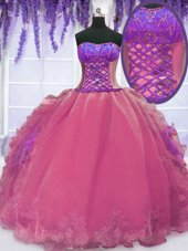 Hot Pink Lace Up Strapless Embroidery and Ruffles Sweet 16 Dress Organza Sleeveless