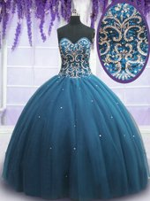 Elegant Sleeveless Floor Length Beading and Appliques Lace Up Ball Gown Prom Dress with Teal