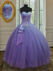 Lavender Sleeveless Tulle and Sequined Lace Up 15 Quinceanera Dress for Military Ball and Sweet 16