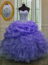 Fantastic Lavender Sleeveless Floor Length Beading and Ruffles and Pick Ups Lace Up Quinceanera Gown