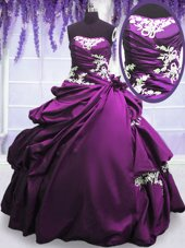Pick Ups Floor Length Ball Gowns Sleeveless Purple Sweet 16 Dresses Lace Up