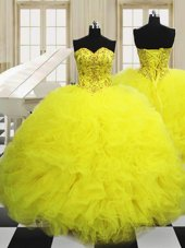 Light Yellow Sleeveless Tulle Lace Up 15 Quinceanera Dress for Military Ball and Sweet 16 and Quinceanera