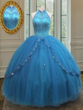 Blue Sleeveless Beading and Appliques Floor Length Sweet 16 Dresses