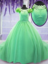 Best Scoop Short Sleeves Tulle 15th Birthday Dress Hand Made Flower Court Train Lace Up
