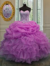 Sleeveless Floor Length Beading and Pick Ups Lace Up Ball Gown Prom Dress with Baby Pink