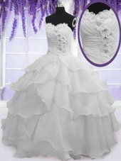 Affordable Ruffled Silver Sleeveless Organza Lace Up Quince Ball Gowns for Military Ball and Sweet 16 and Quinceanera,Silhouette: Ball GownsNeckline: sweetheartSleeve Length: sleevelessHemline/Train: floor lengthBack Detail: lace upEmbellishment: beading,ruffled layersFabric: organzaShown Color: silver(Color & Style representation may vary by monitor.)Occasion: military ball,sweet 16,quinceaneraSeason: spring,summer,fall,winterFully Lined: YesBuilt-In Bra: Yes