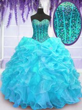 Pick Ups Aqua Blue Sleeveless Organza Lace Up 15th Birthday Dress for Military Ball and Sweet 16 and Quinceanera