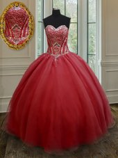 Red Sweet 16 Quinceanera Dress Military Ball and Sweet 16 and Quinceanera and For with Beading Sweetheart Sleeveless Lace Up