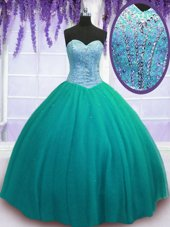Turquoise Sleeveless Tulle Lace Up Vestidos de Quinceanera for Military Ball and Sweet 16 and Quinceanera