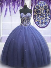 Pretty Purple Tulle Lace Up Sweet 16 Dress Sleeveless Floor Length Beading