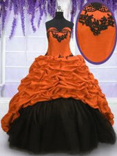 Lovely Multi-color Taffeta Lace Up Sweetheart Sleeveless With Train Quinceanera Dress Sweep Train Appliques and Pick Ups