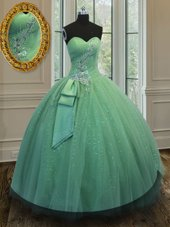 Floor Length Green Quince Ball Gowns Tulle and Sequined Sleeveless Beading and Ruching and Bowknot