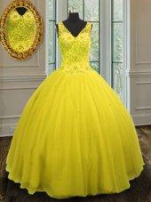 Beading Quinceanera Gown Yellow Zipper Sleeveless Floor Length
