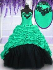 Graceful Pick Ups Sweetheart Sleeveless Sweep Train Lace Up Quinceanera Dresses Turquoise Taffeta