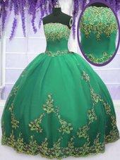 Glittering Strapless Sleeveless Zipper Sweet 16 Dresses Turquoise Tulle