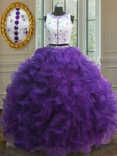 Dazzling Scoop Purple Organza Clasp Handle Vestidos de Quinceanera Sleeveless Floor Length Appliques