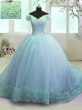 Beauteous Off the Shoulder Sleeveless With Train Hand Made Flower Lace Up Sweet 16 Quinceanera Dress with Light Blue Court Train
