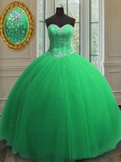 Sleeveless Floor Length Beading and Sequins Lace Up Vestidos de Quinceanera with