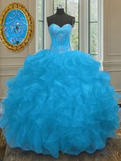 Pretty Beading and Ruffles Quinceanera Gowns Blue Lace Up Sleeveless