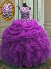 Purple Vestidos de Quinceanera Military Ball and Sweet 16 and Quinceanera and For with Beading and Ruffles and Pick Ups Scoop Sleeveless Lace Up