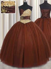 Beautiful Sleeveless Tulle Floor Length Lace Up Quinceanera Dress in Burgundy for with Beading and Appliques