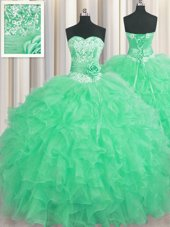 Handcrafted Flower Beading and Ruffles and Hand Made Flower Vestidos de Quinceanera Apple Green Lace Up Sleeveless Floor Length