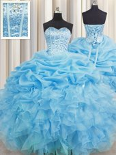 New Arrival Lavender Ball Gowns Beading and Ruffles Quinceanera Dress Lace Up Organza Sleeveless Floor Length