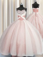 Simple Sleeveless Floor Length Beading and Ruffles Lace Up Sweet 16 Dresses with Rose Pink