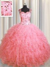See Through Zipper Up Pink Organza Zipper Vestidos de Quinceanera Sleeveless Floor Length Beading and Ruffles