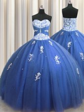 Exceptional Sweetheart Sleeveless 15th Birthday Dress Floor Length Beading and Appliques Burgundy Tulle