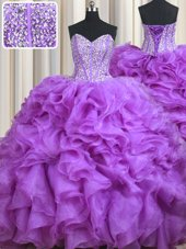 Sumptuous Beading and Ruffles 15th Birthday Dress Lilac Lace Up Sleeveless Sweep Train