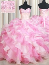 Sweetheart Sleeveless Lace Up Sweet 16 Quinceanera Dress Pink And White Organza