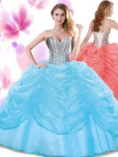 Edgy Baby Blue Ball Gowns Organza Sweetheart Sleeveless Beading and Pick Ups Floor Length Lace Up 15 Quinceanera Dress,Silhouette: Ball GownsNeckline: sweetheartSleeve Length: sleevelessHemline/Train: floor lengthBack Detail: lace upEmbellishment: beading,pick upsFabric: organzaShown Color: baby blue(Color & Style representation may vary by monitor.)Occasion: military ball,sweet 16,quinceaneraSeason: spring,summer,fall,winterFully Lined: YesBuilt-In Bra: Yes