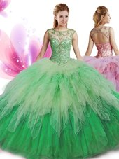 Ball Gowns Quinceanera Gowns Multi-color Scoop Tulle Sleeveless Floor Length Zipper,Silhouette: Ball GownsNeckline: scoopSleeve Length: sleevelessHemline/Train: floor lengthBack Detail: zipperEmbellishment: beading,rufflesFabric: tulleShown Color: multi-color(Color & Style representation may vary by monitor.)Occasion: military ball,sweet 16,quinceaneraSeason: spring,summer,fall,winterFully Lined: YesBuilt-In Bra: Yes