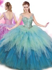 Hot Sale Cap Sleeves Tulle Floor Length Lace Up Sweet 16 Quinceanera Dress in Multi-color for with Beading and Ruffles,Silhouette: Ball GownsNeckline: v-neckSleeve Length: cap sleevesHemline/Train: floor lengthBack Detail: lace upEmbellishment: beading,rufflesFabric: tulleShown Color: multi-color(Color & Style representation may vary by monitor.)Occasion: military ball,sweet 16,quinceaneraSeason: spring,summer,fall,winterFully Lined: YesBuilt-In Bra: Yes