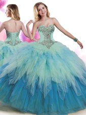 Multi-color 15 Quinceanera Dress Military Ball and Sweet 16 and Quinceanera and For with Beading and Ruffles Sweetheart Sleeveless Lace Up,Silhouette: Ball GownsNeckline: sweetheartSleeve Length: sleevelessHemline/Train: floor lengthBack Detail: lace upEmbellishment: beading,rufflesFabric: tulleShown Color: multi-color(Color & Style representation may vary by monitor.)Occasion: military ball,sweet 16,quinceaneraSeason: spring,summer,fall,winterFully Lined: YesBuilt-In Bra: Yes