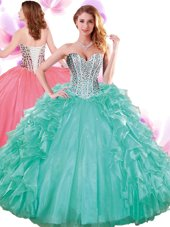 Shining Turquoise Sweet 16 Dress Military Ball and Sweet 16 and Quinceanera and For with Beading and Ruffles Sweetheart Sleeveless Lace Up,Silhouette: Ball GownsNeckline: sweetheartSleeve Length: sleevelessHemline/Train: floor lengthBack Detail: lace upEmbellishment: beading,rufflesFabric: organzaShown Color: turquoise(Color & Style representation may vary by monitor.)Occasion: military ball,sweet 16,quinceaneraSeason: spring,summer,fall,winterFully Lined: YesBuilt-In Bra: Yes