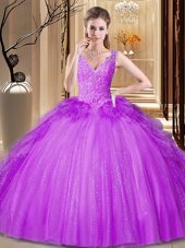 Suitable Purple Ball Gowns Tulle and Sequined V-neck Sleeveless Appliques and Ruffles and Sequins Floor Length Backless Quince Ball Gowns