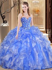 Decent Ball Gowns Vestidos de Quinceanera Blue Sweetheart Organza Sleeveless Floor Length Lace Up