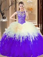 Sleeveless Backless Floor Length Beading and Ruffles 15th Birthday Dress