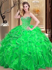 Multi-color Quinceanera Gowns Military Ball and Sweet 16 and For with Embroidery and Ruffles Sweetheart Sleeveless Lace Up