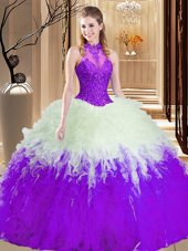 Traditional White And Purple Sleeveless Tulle Lace Up Quinceanera Dress for Military Ball and Sweet 16 and Quinceanera